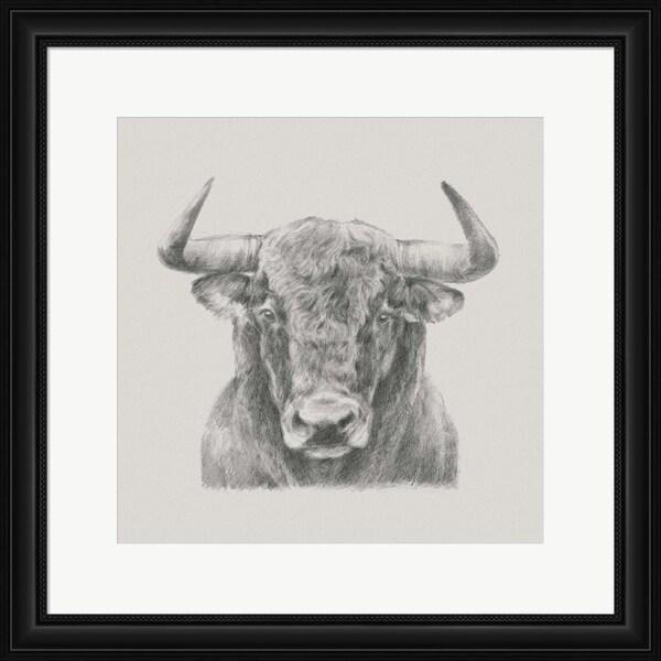 Ethan Harper 'Black & White Bull' Framed Art