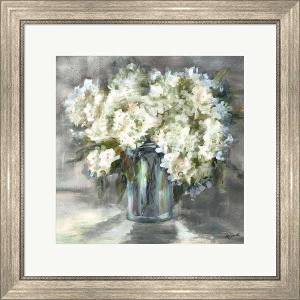 Tre Sorelle Studios 'White and Taupe Hydrangeas Sill Life' Framed Art