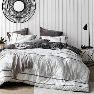Link to Kappel Black and White Stripes Comforter - 100% Cotton Similar Items in Quilts & Coverlets