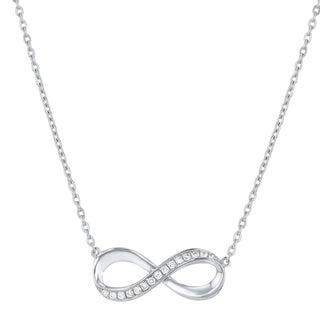 Sterling Silver 1/6ct. TDW Diamond Infinity Necklace by Beverly Hills Charm