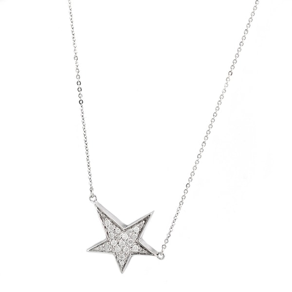 Sterling Silver 1/5ct. TDW Diamond Sideway Star Necklace by Beverly Hills Charm