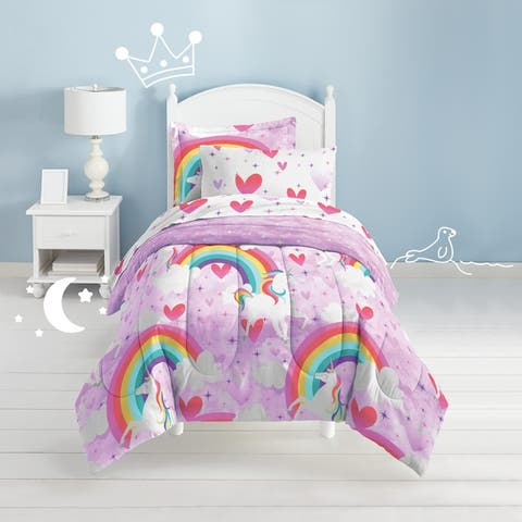 Dream Factory Unicorn Rainbow 7-piece Microfiber Bed in a Bag with Sheet Set