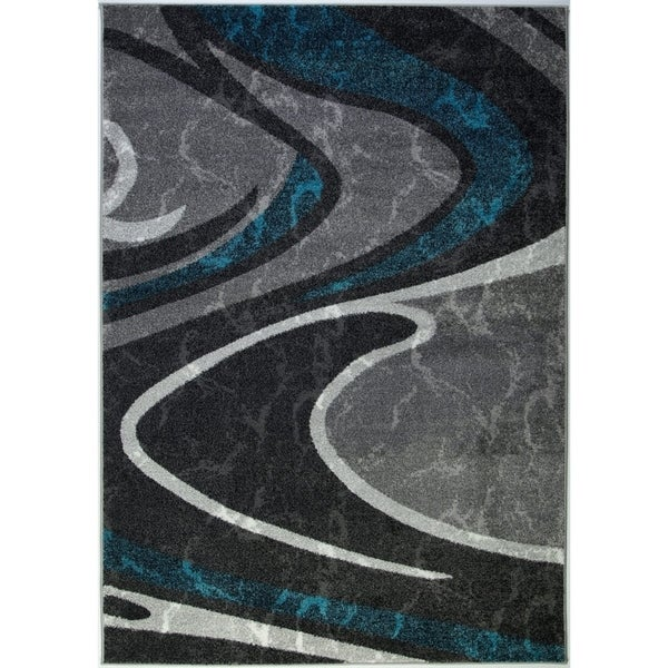 LaDole Rugs Innovative Spirals Abstract Rug in Black Grey Blue