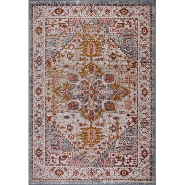 LaDole Rugs Traditional Design Durable Mat in Beige Teal