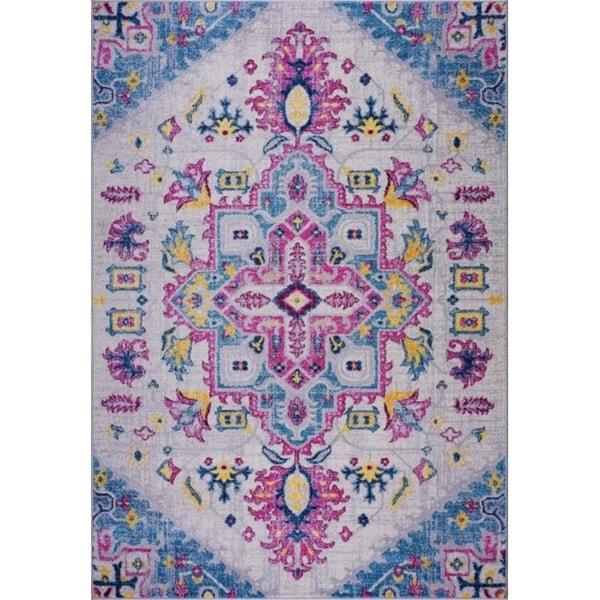 LaDole Rugs Traditional Design Soft Mat Area Rug Carpet in Blue Multicolor