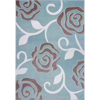 LaDole Rugs Rose Pattern Abstract Design Area Rug in Light Blue