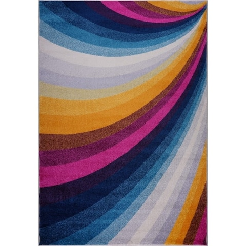 LaDole Rugs Abstract Style Rainbow Mat in Multicolor