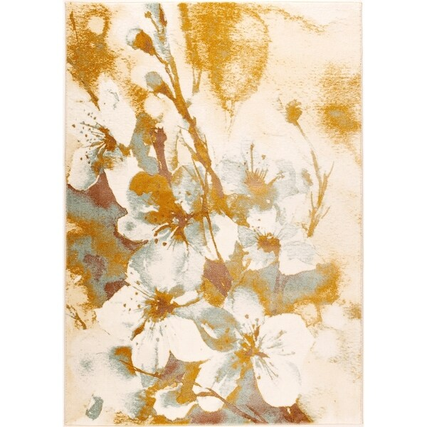 LaDole Rugs Painting Flowers Abstract Area Rug in Beige and Cream