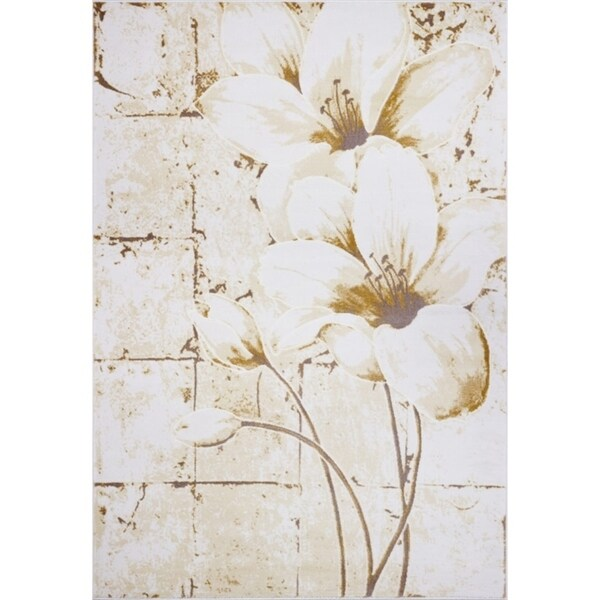 LaDole Rugs Turkish Floral Pattern Area Rug in Beige Cream
