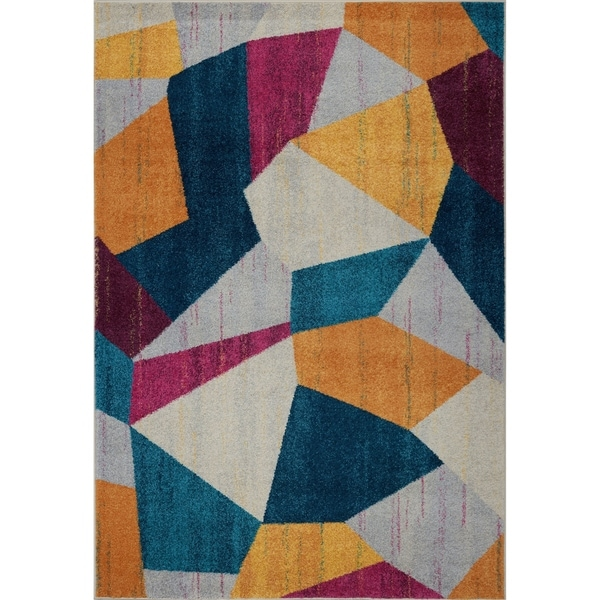 LaDole Rugs Smooth Area Rug in Geometric Pattern in Multicolor
