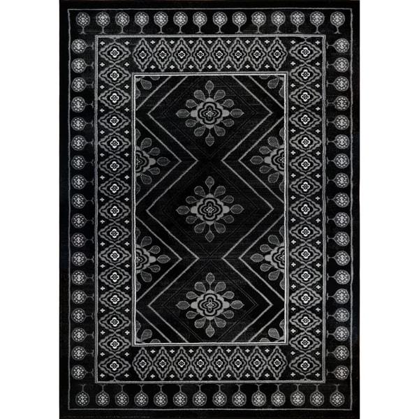 LaDole Rugs Contemporary Style Geometric Area Rug in Black White