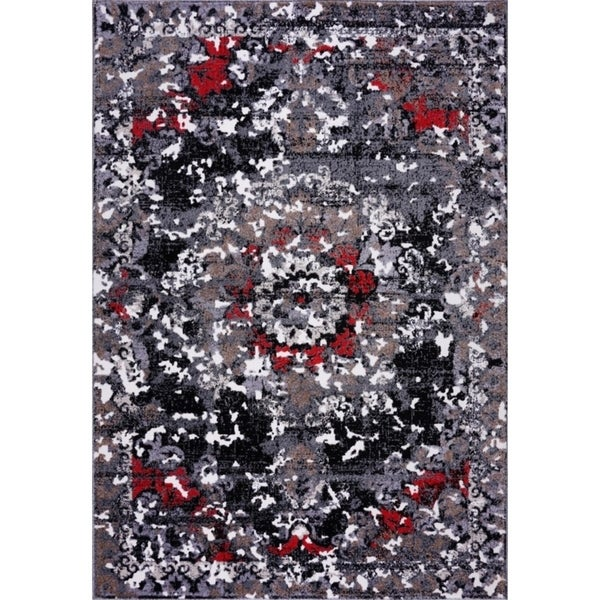 LaDole Rugs Grayton Classic Polypropylene Mat in Gray Red