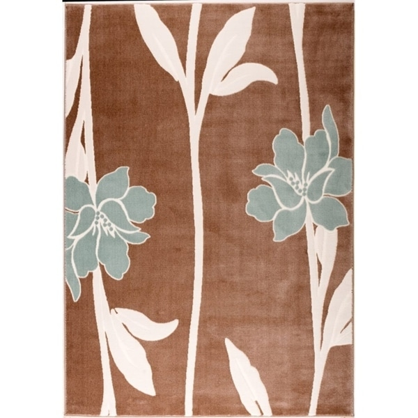 LaDole Rugs Blue Flowers Pattern Design Durable Area Rug in Brown