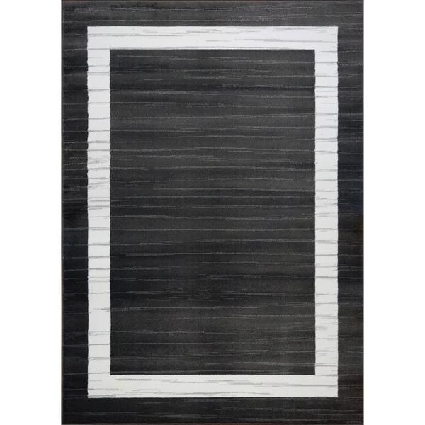 LaDole Rugs Boarder Contemporary Style Area Rug in Black White