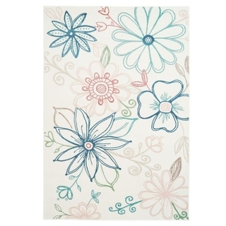 LaDole Rugs Daisy Floral Machine Made Area Rug in Cream