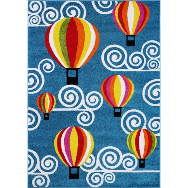 LaDole Rugs Hot Air Balloon and Sky Design Kids Area Rug in Blue