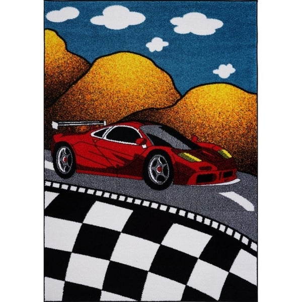LaDole Rugs Red and Black Car on Road Kids Area Rug in Multicolor. Opens flyout.