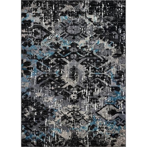LaDole Rugs Coronado Abstract Contemporary Area Rug in Black Blue