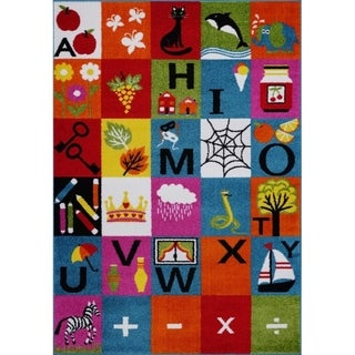 LaDole Rugs Alphabets Theme Adorable Soft Area Rug in Multicolor