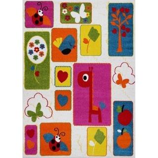 LaDole Rugs Cream and Multicolor Nature Theme Kids Area Rug Carpet