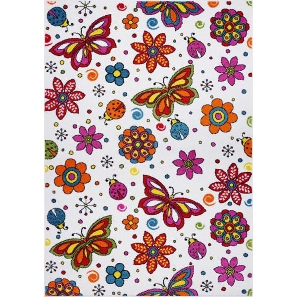 LaDole Rugs Butterflies Flowers Pattern Area Rug Cream Multicolor
