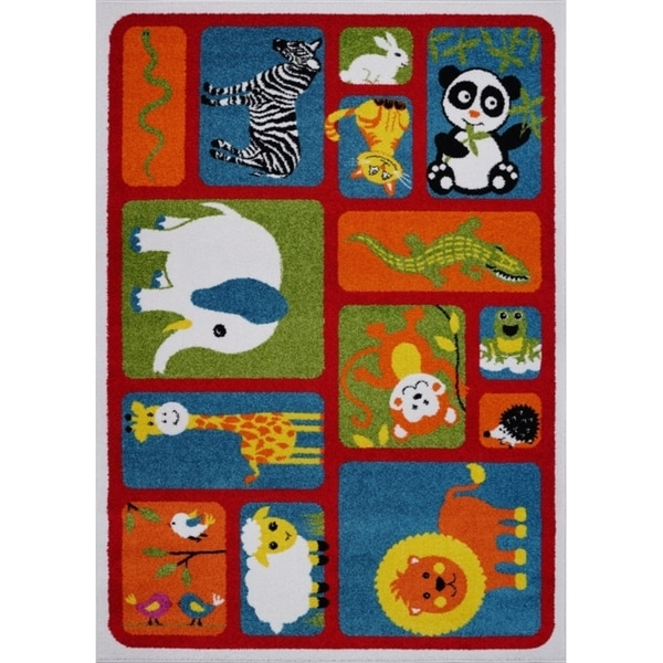 LaDole Rugs Adorable Animals Theme Area Rug in Red and Multicolor