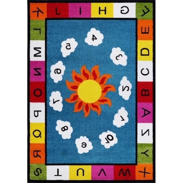 LaDole Rugs Number Alphabets Durable Kids Area Rug Blue Multicolor