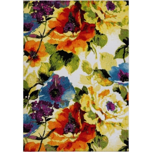 LaDole Rugs Contemporary Painting Flowers Small Area Rug Runner in Multicolor 3x5