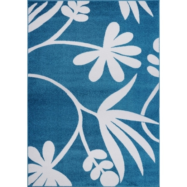 LaDole Rugs Botanical Style Creative Area Rug in Blue and Cream