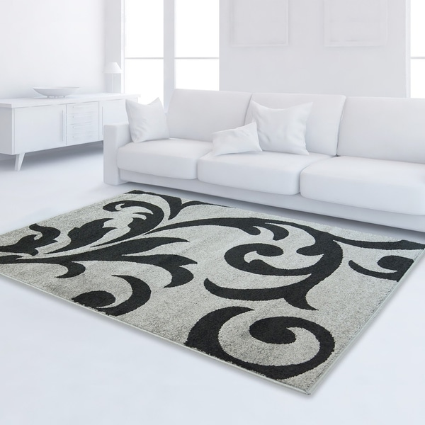 LaDole Rugs Floral Style Durable Area Rug Ivory Black
