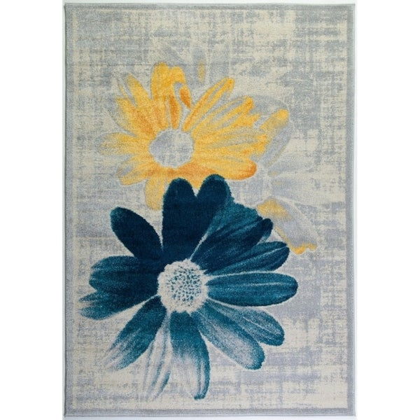 LaDole Rugs Floral Pattern Mat Doormat in Teal Yellow