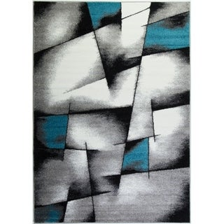 LaDole Rugs Beautiful Geometric Pattern Area Rug in Blue Grey