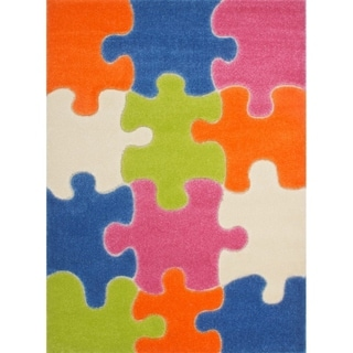 LaDole Rugs Kids Area Rug Puzzles Theme in Multicolor
