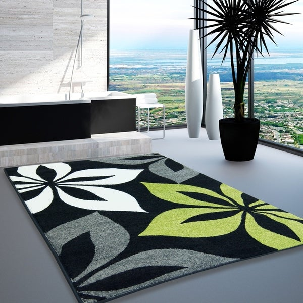 LaDole Rugs Floral Pattern Europe Area Rug in Black Grey Green