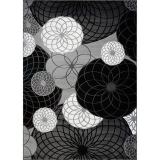 LaDole Rugs Geometric Contemporary Area Rug in Black Grey White