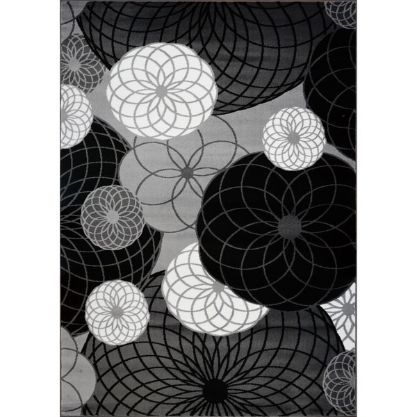 LaDole Rugs Geometric Contemporary Area Rug in Black Grey White