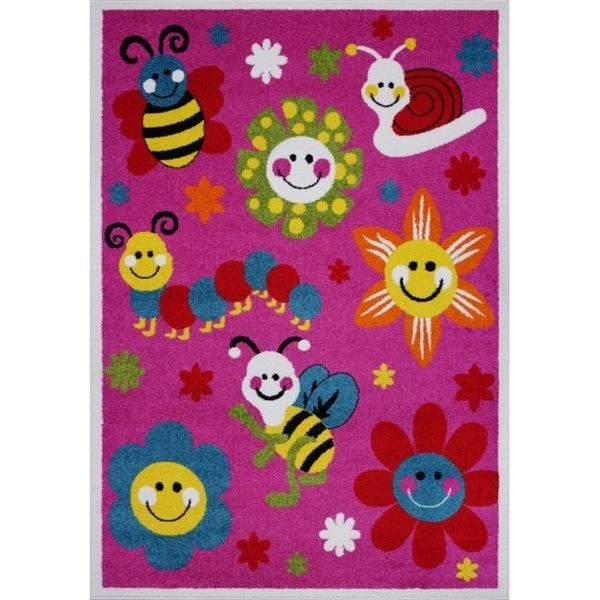 LaDole Rugs Cute Bees Flowers Smiley Faces Kids Area Rug in Pink