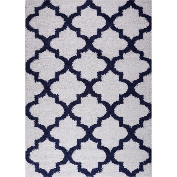 LaDole Rugs Shaggy Fes Abstract Small Area Rug Runner Rug in Dark Blue White