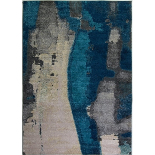LaDole Rugs Innovative Beautiful Abstract Rug in Teal Cream Grey 3x5