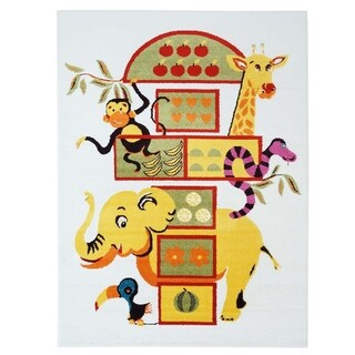 LaDole Rugs Adorable Modern Moda Kids Area Rug with Elephant White
