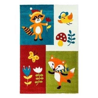 LaDole Rugs Kids Area Rug Animals Multi Fox in Multicolor