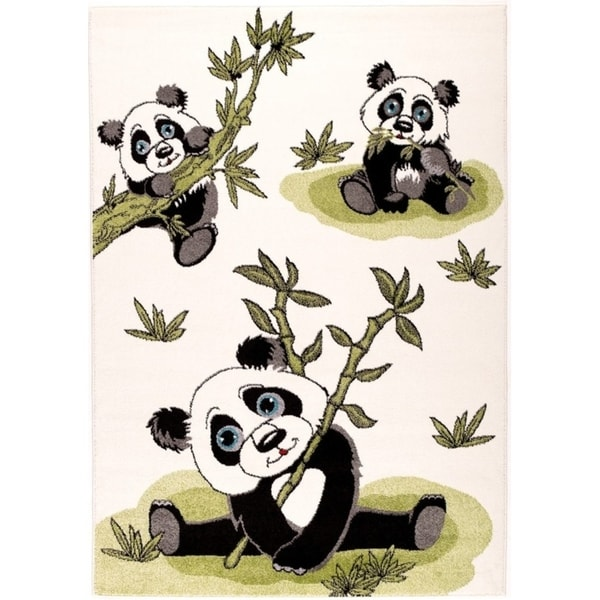 LaDole Rugs Durable Kids Area Rug Panda Bamboo in Cream Green