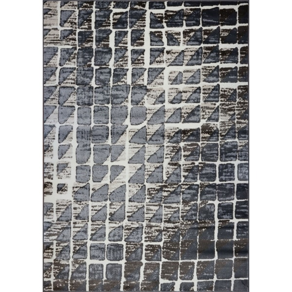 LaDole Rugs Geometric Contemporary Style Area Rug in Grey Cream