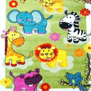 LaDole Rugs Adorable Modern Moda Kids Area Rug with Animals Green