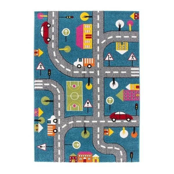 """LaDole Rugs Kids Area Rug Cars and Roads City Theme in Blue 3'9"""" x 5'2"""""""