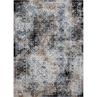 LaDole Rugs Tayrona Abstract Contemporary Area Rug in Black Grey