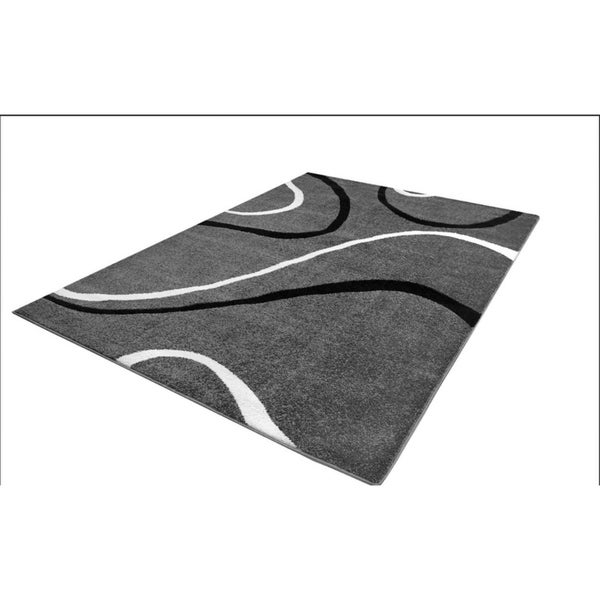 LaDole Rugs Durable Spiral Style Area Rug Grey Black White