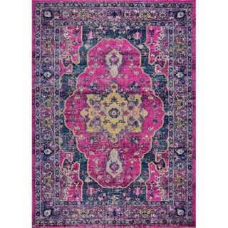 """LaDole Rugs Timeless Beverly Pink Purple Vintage Outdoor Mat 1'10""""x2'11"""""""