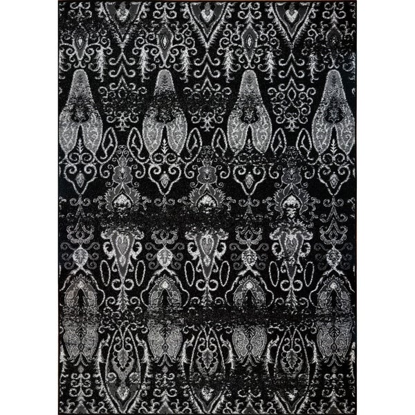 LaDole Rugs Geometric Contemporary Style Area Rug in Black