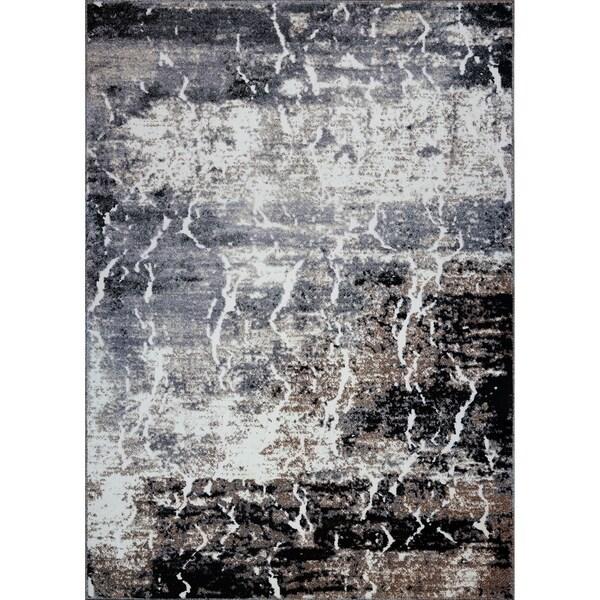 LaDole Rugs Sandbanks Abstract Contemporary Area Rug in Grey Biege
